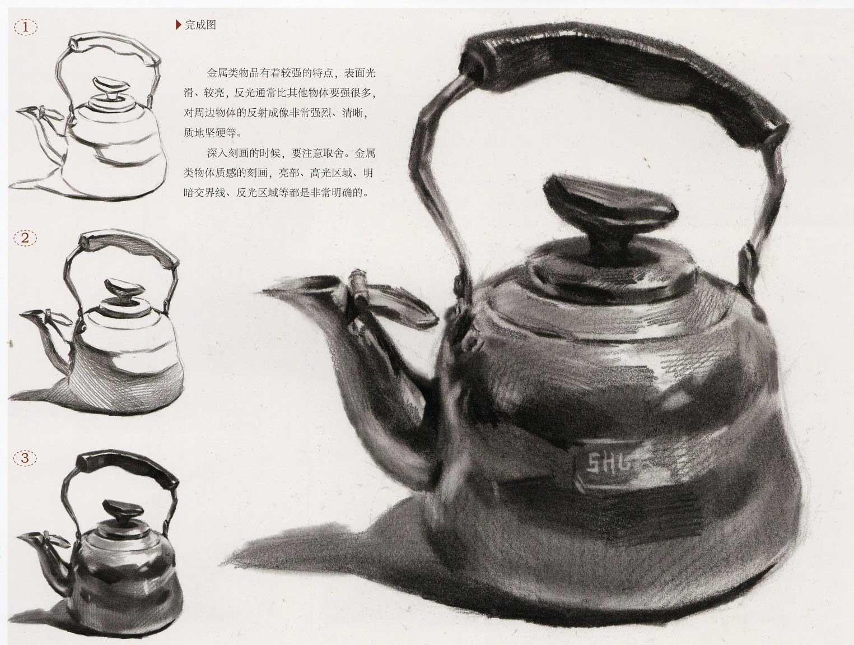 素描静物:金属水壶步骤结构图解