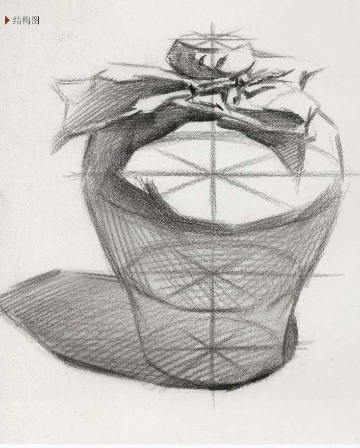 素描陶瓷:酿酒坛、酒坛子素描结构步骤图解