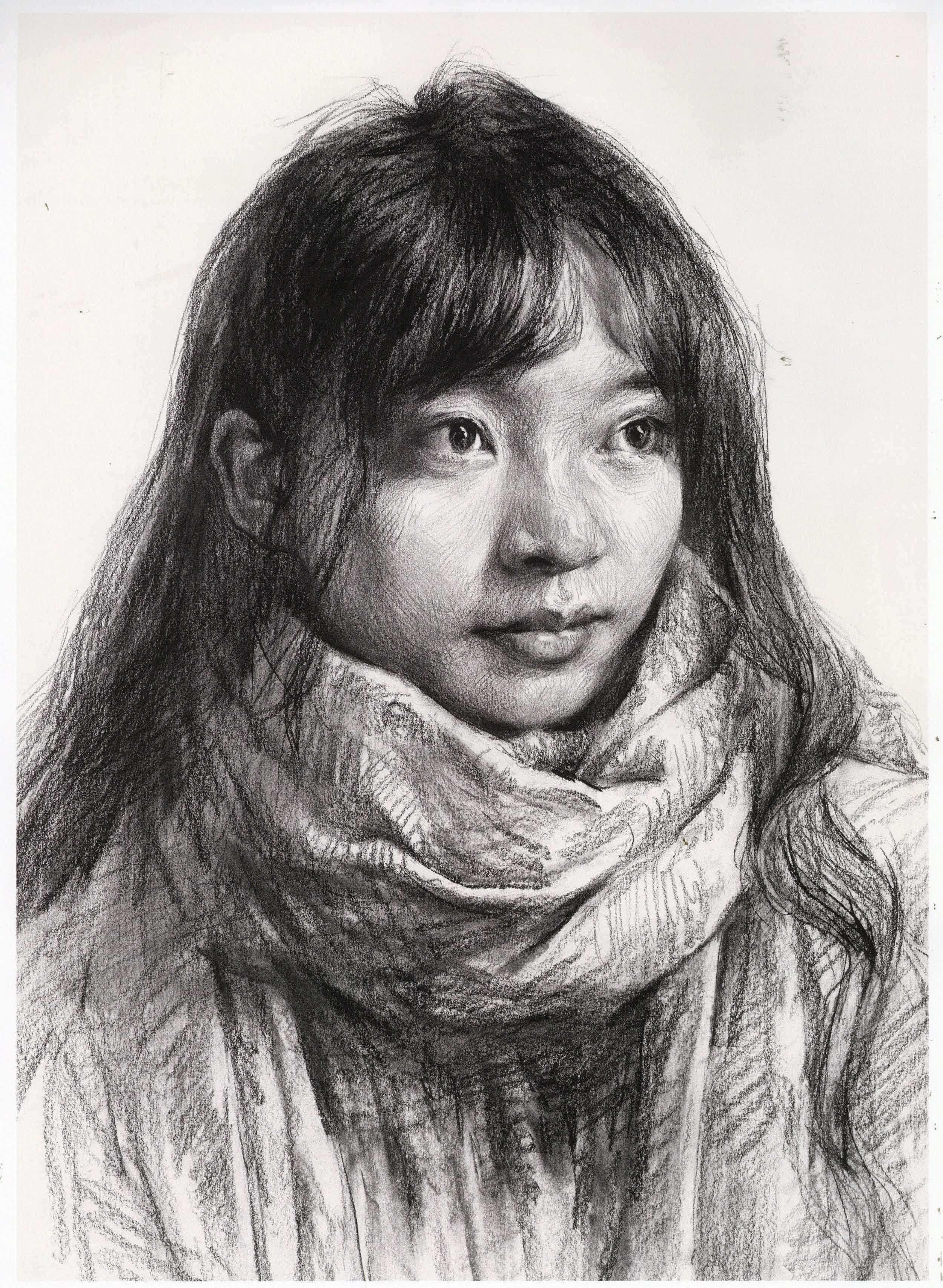人物速写,素描女青年头像案例