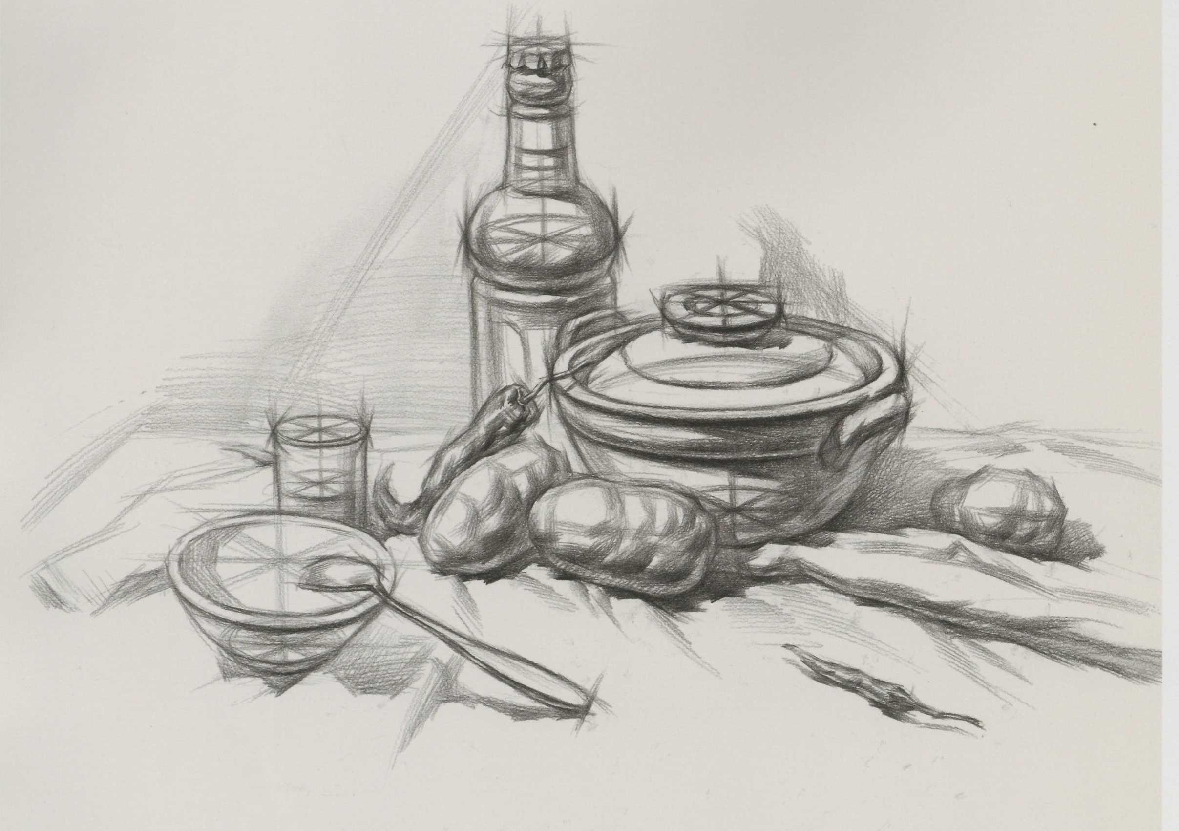 素描静物组合砂锅酒瓶等附带结构图