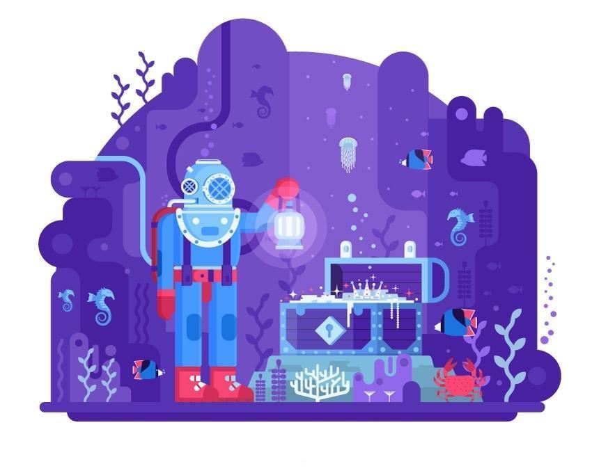 AI扁平化插画教程:丢失的海洋宝藏