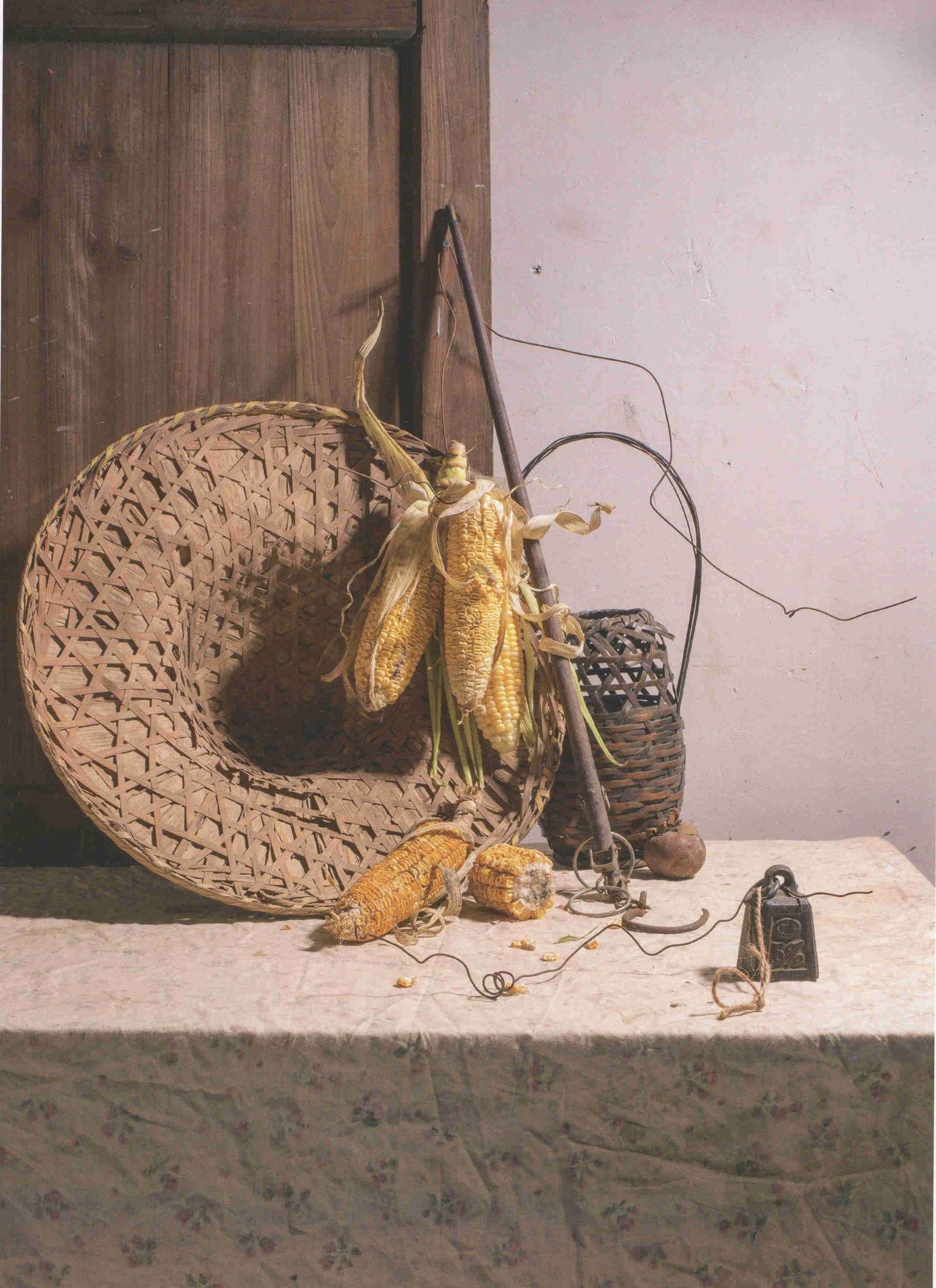 素描草帽、玉米组合图片道具 超清