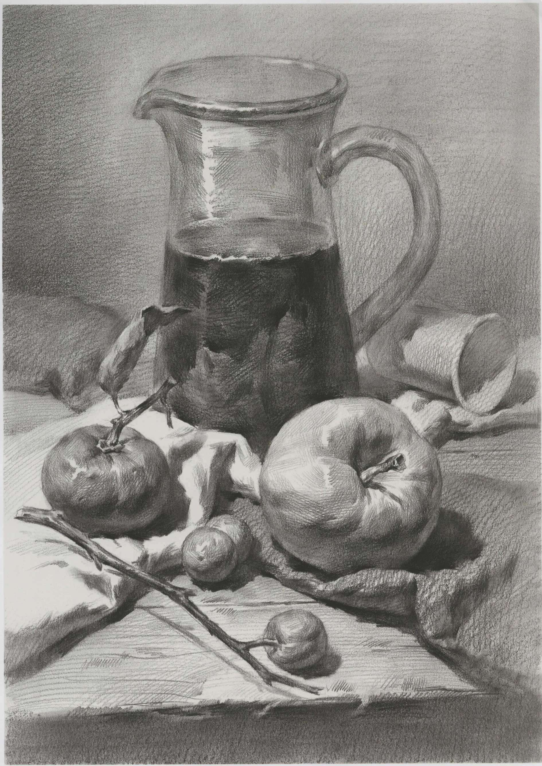 素描静物:大玻璃水杯和苹果等组合 附带素描结构