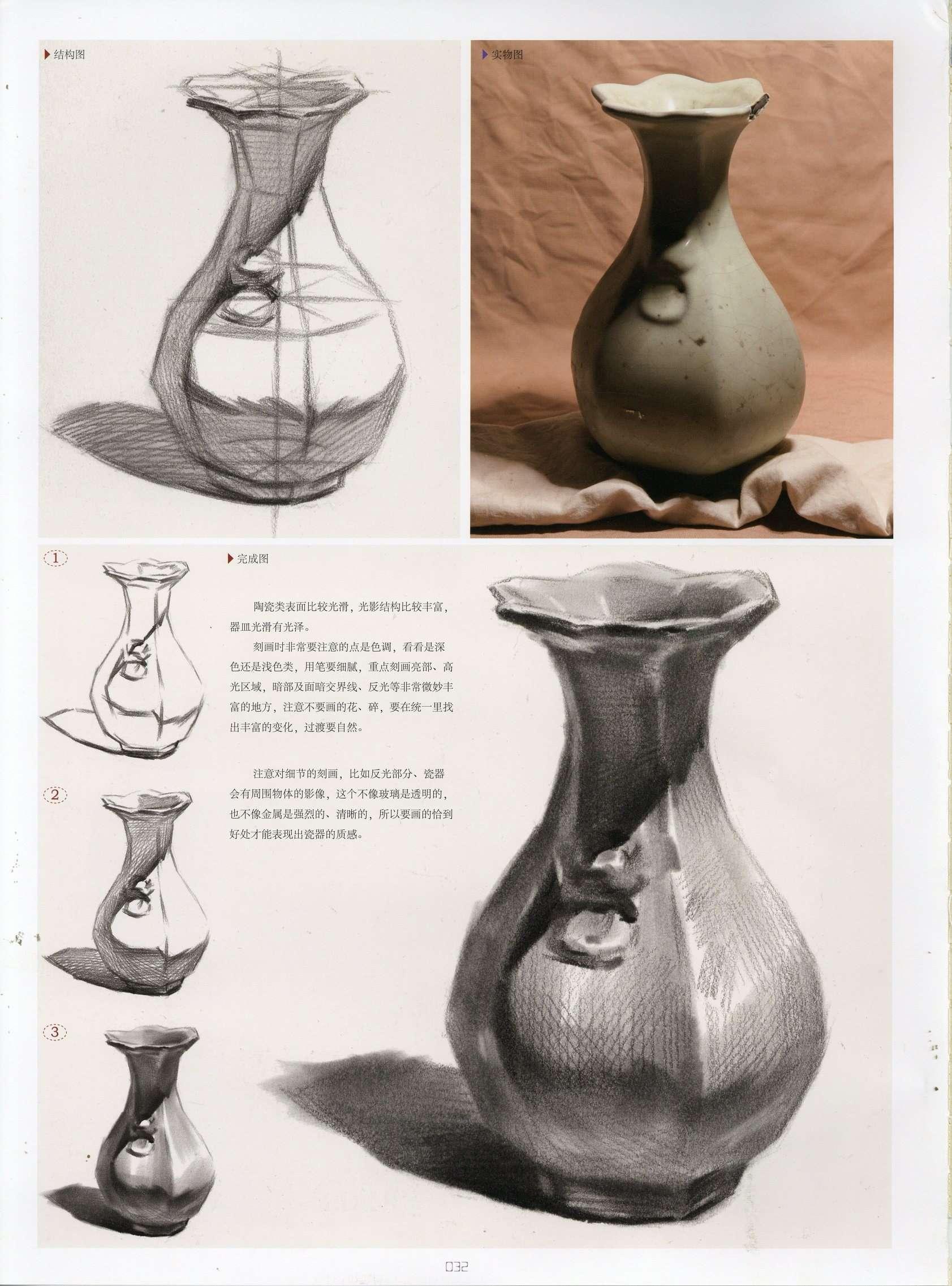 素描单体简单的陶瓷瓶子 带结构和教程步骤分析