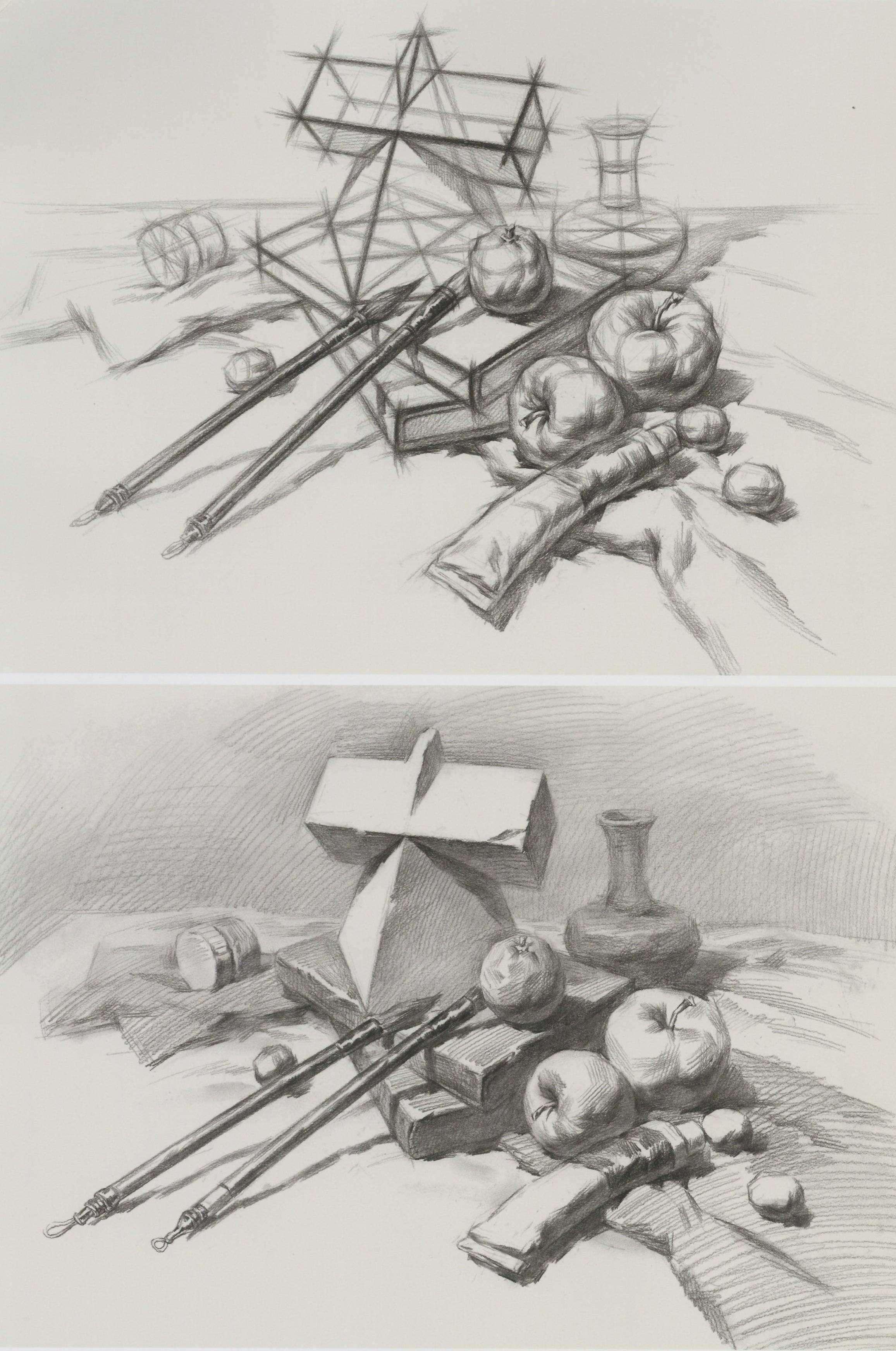 素描方锥贯穿体、瓶子、书本、毛笔、苹果、牙膏等组合