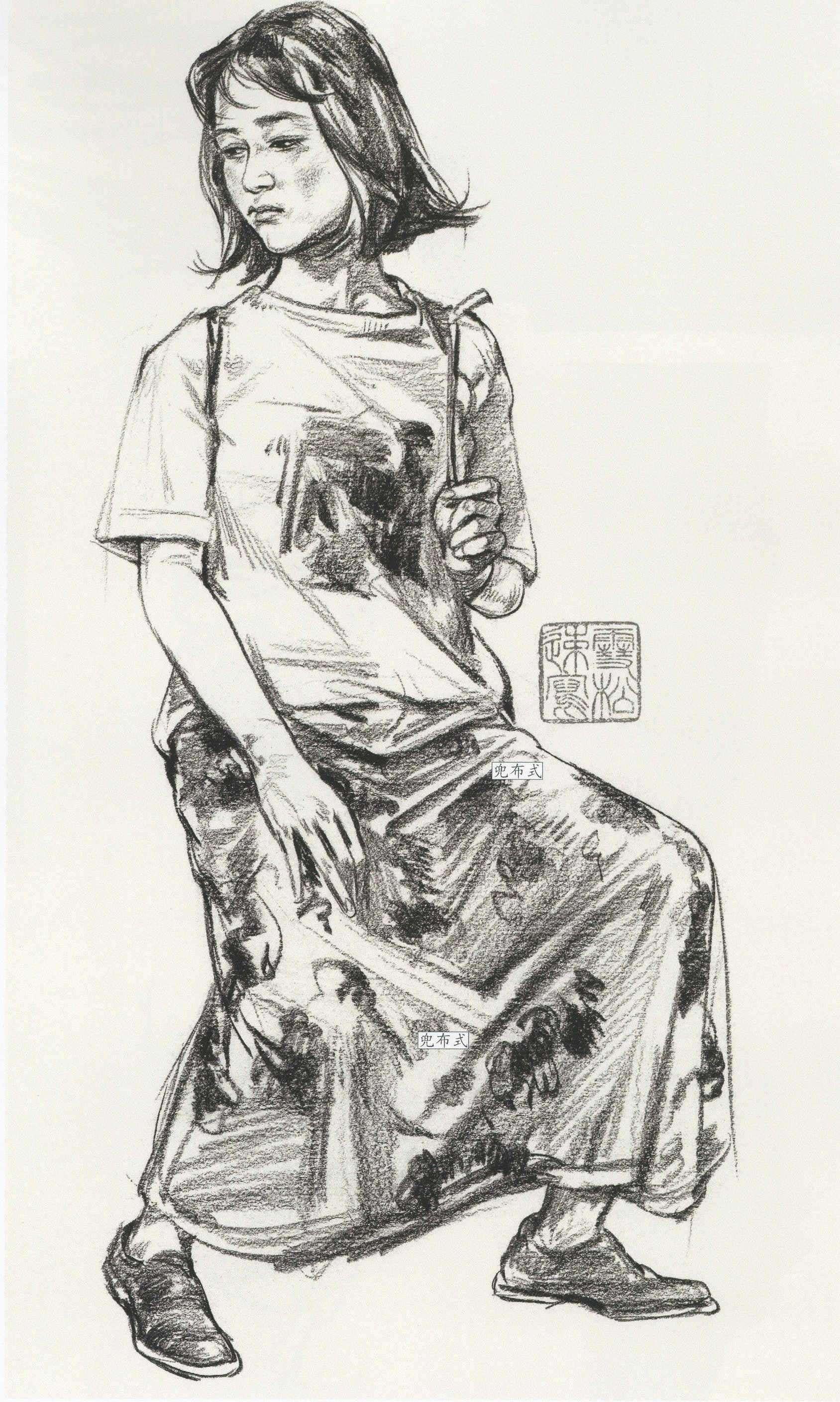 漏斗式衣服速写 褶皱衣物裙摆速写案例