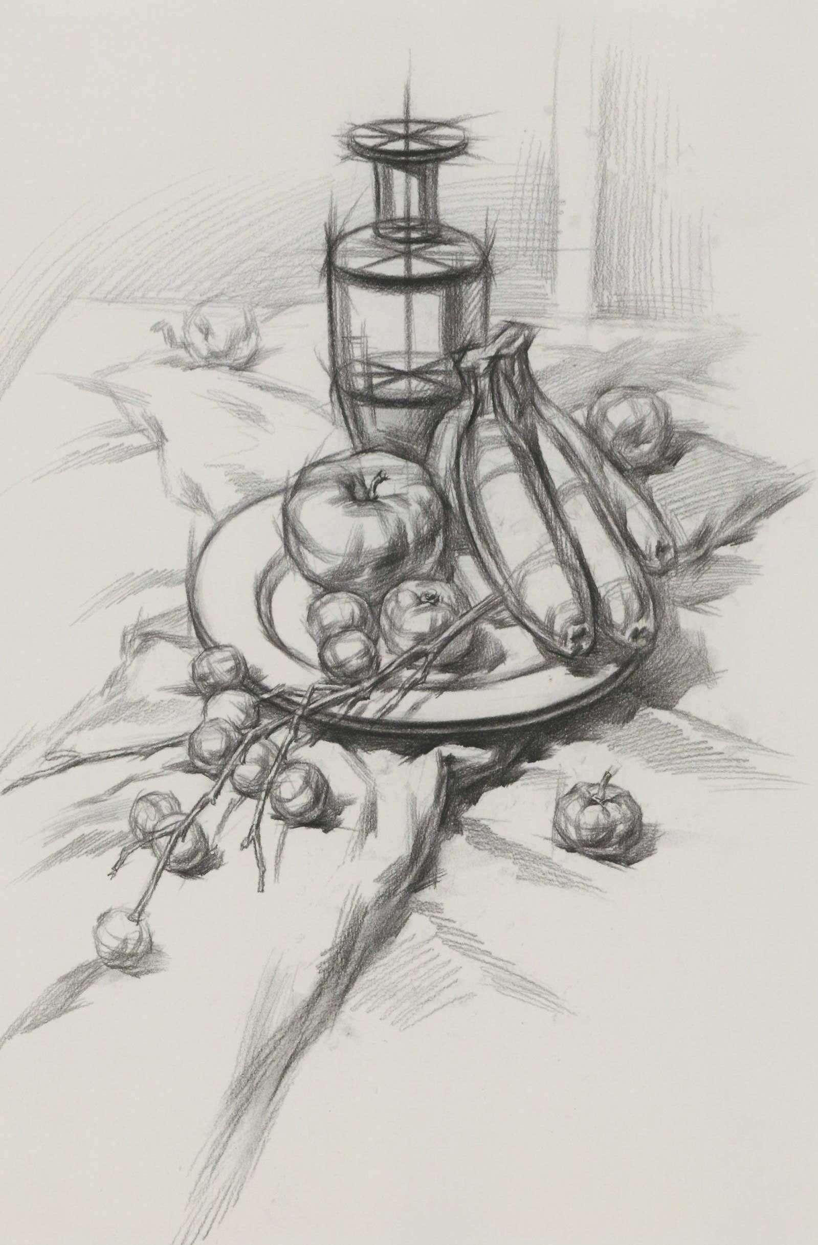 素描静物水果组合,香蕉、苹果厚玻璃杯 超清