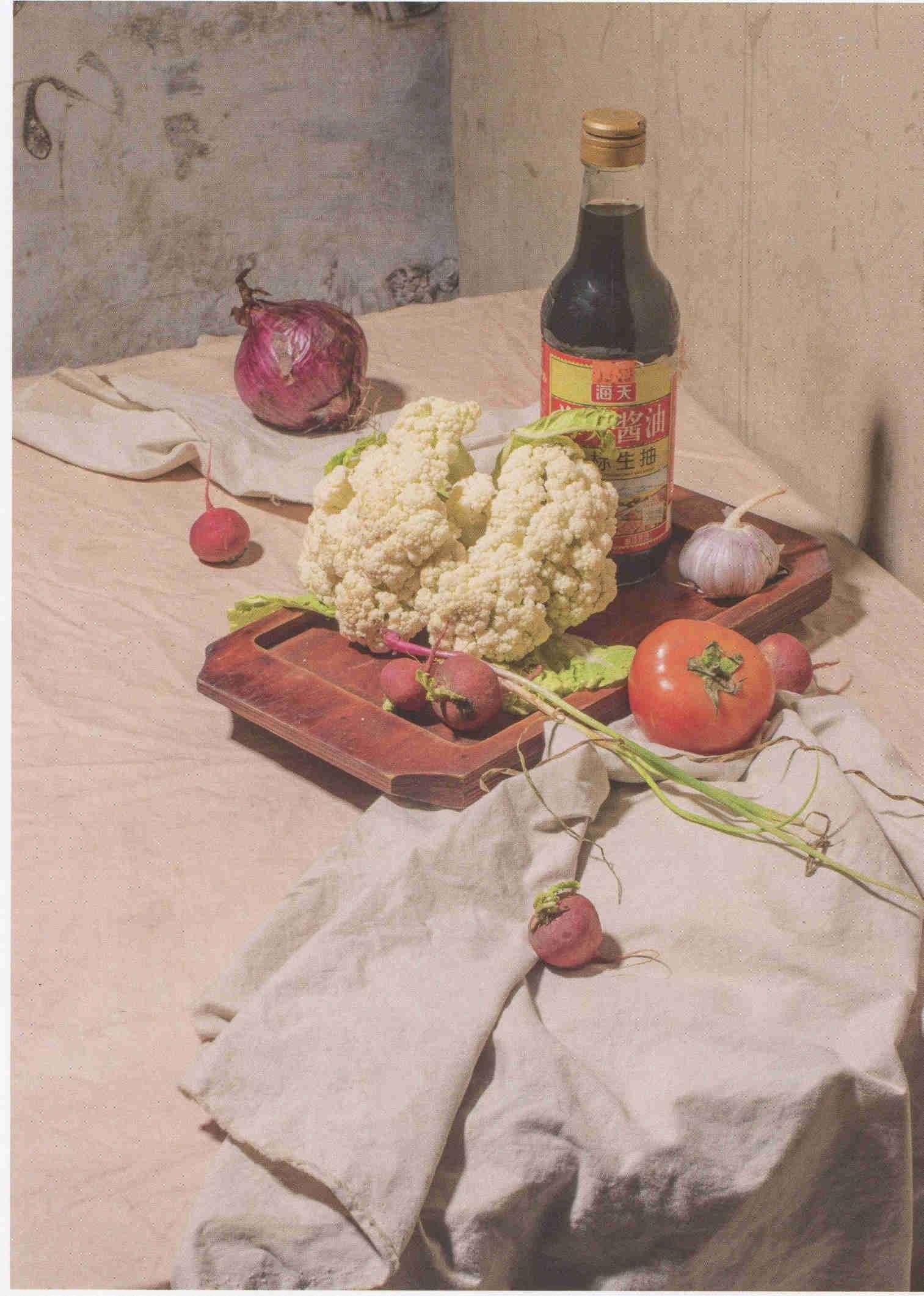 素描酱油瓶、菜花、西红柿组合实物图道具 超清