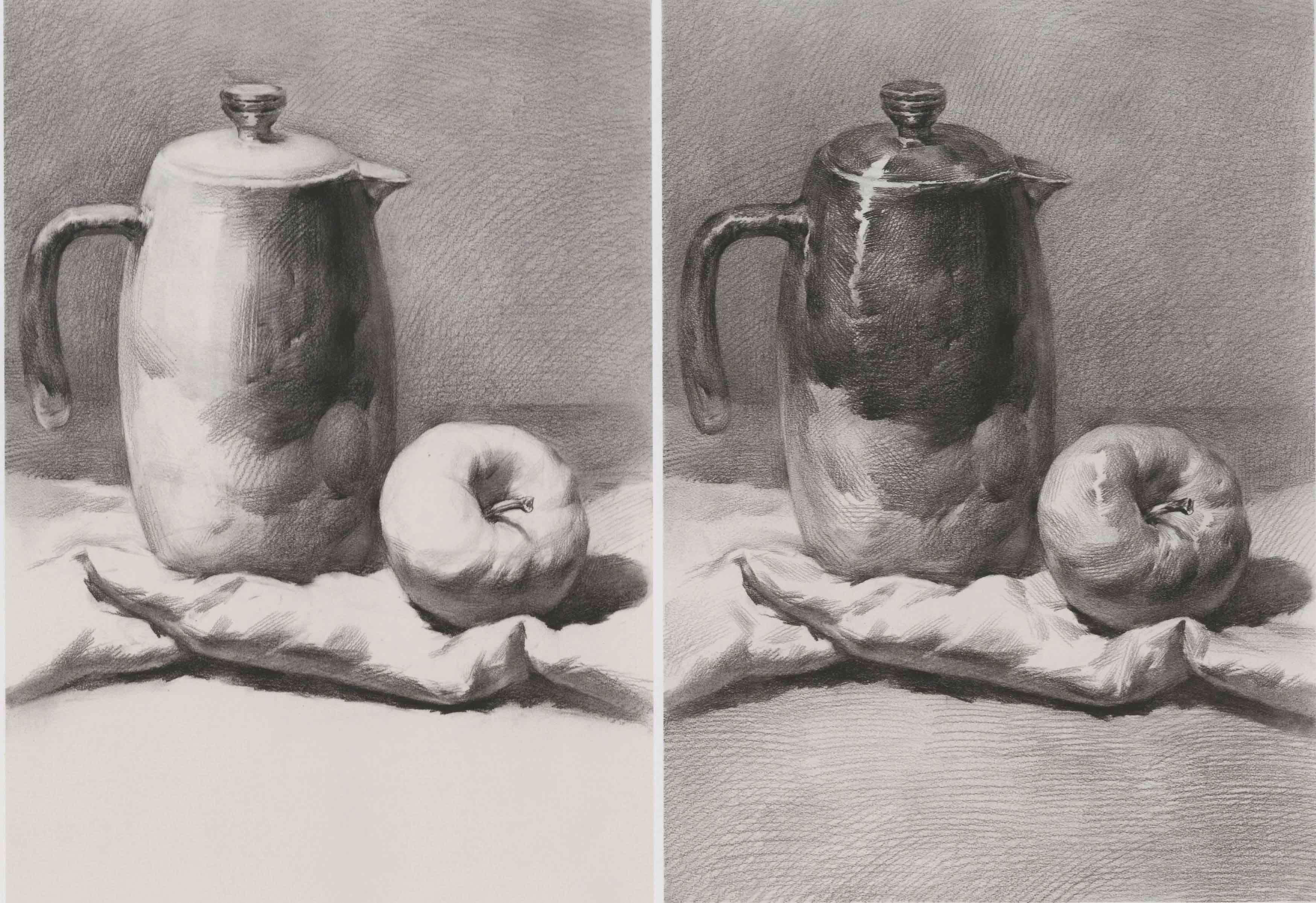 素描静物:壶和苹果组合 超清