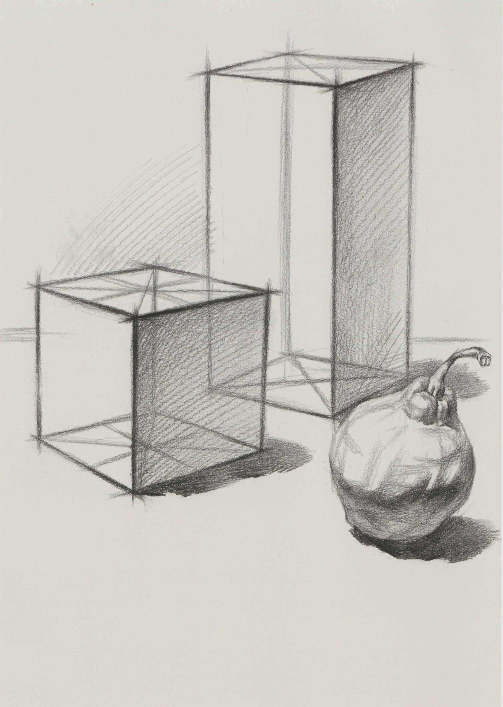 素描正方体、长方体和梨子组合练习