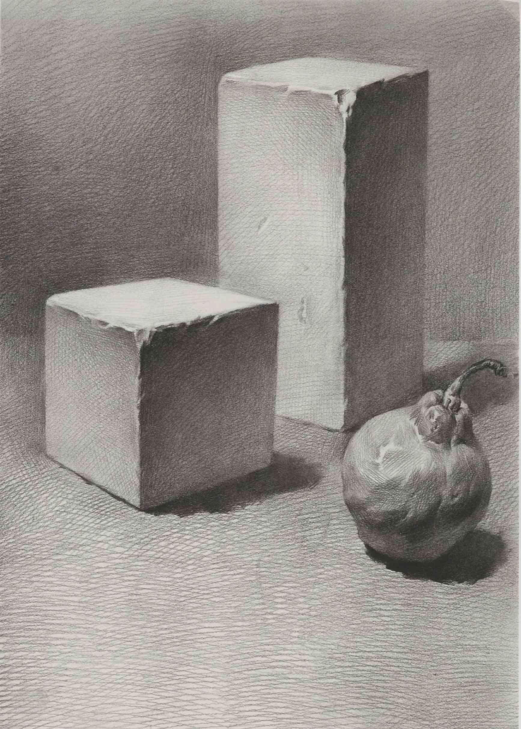 水果静物素描图片_素描正方体、长方体和梨子组合练习-普画网
