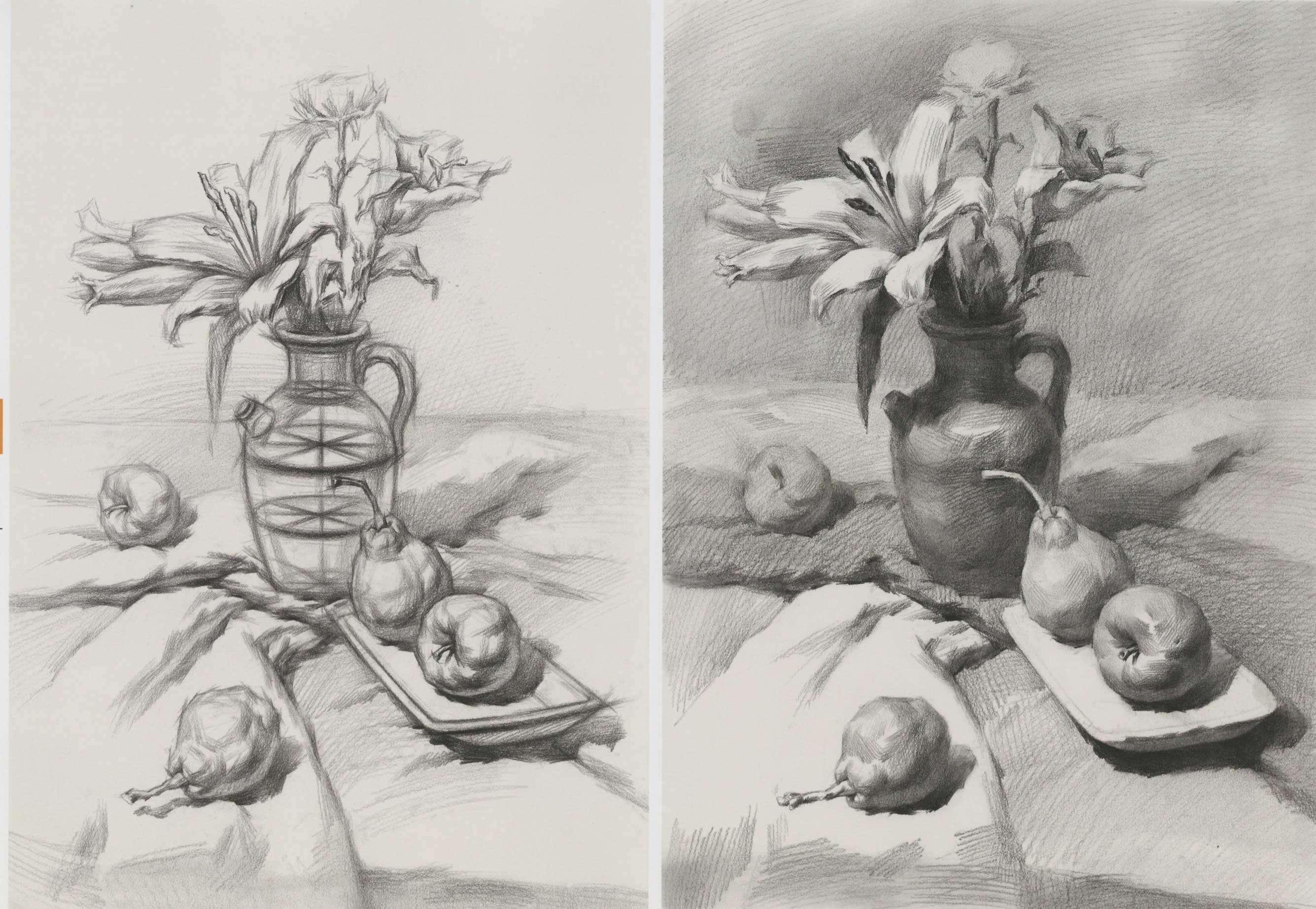 素描静物组合:花瓶梨子和苹果