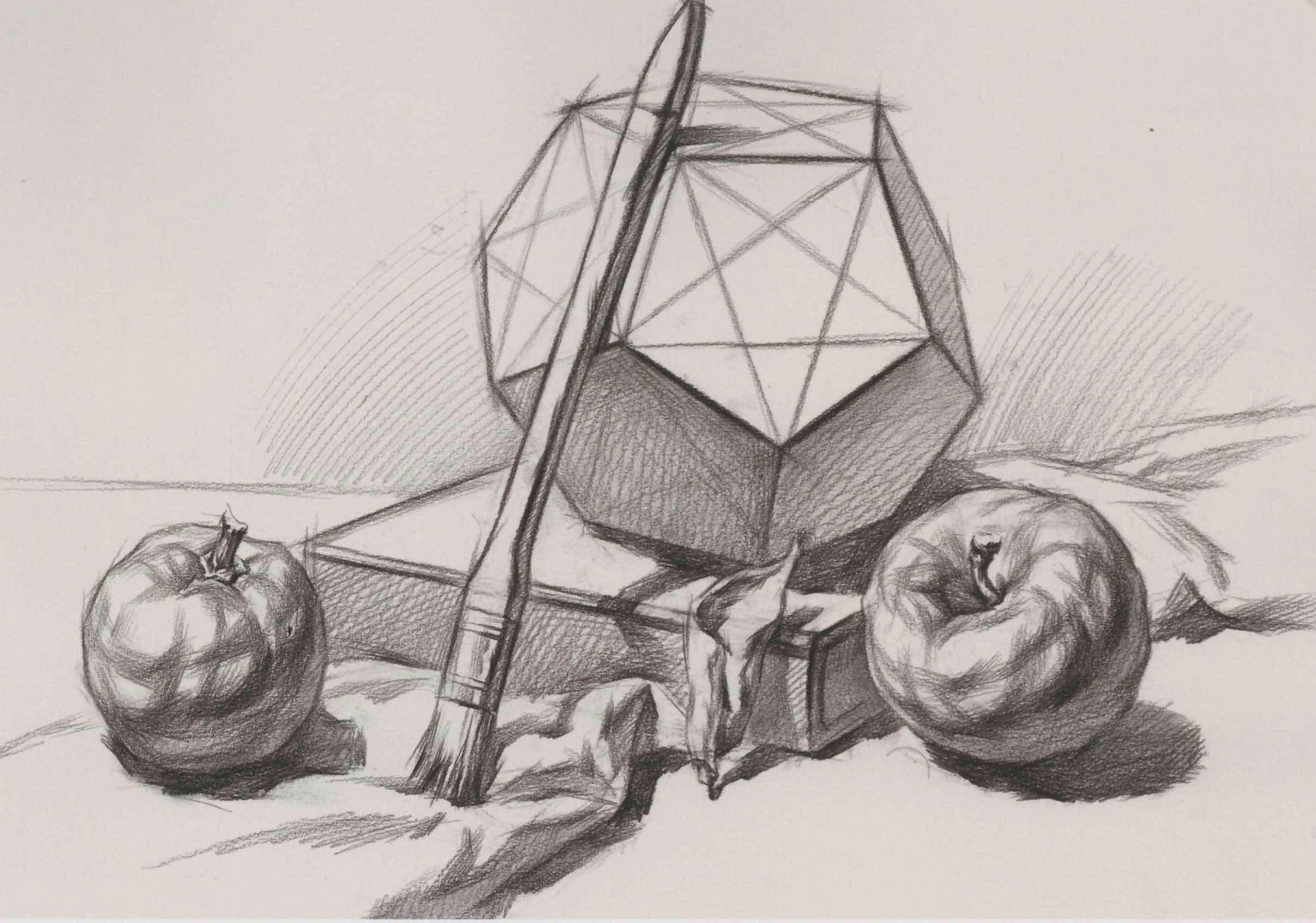 素描几何体苹果、书本、刷子组合练习