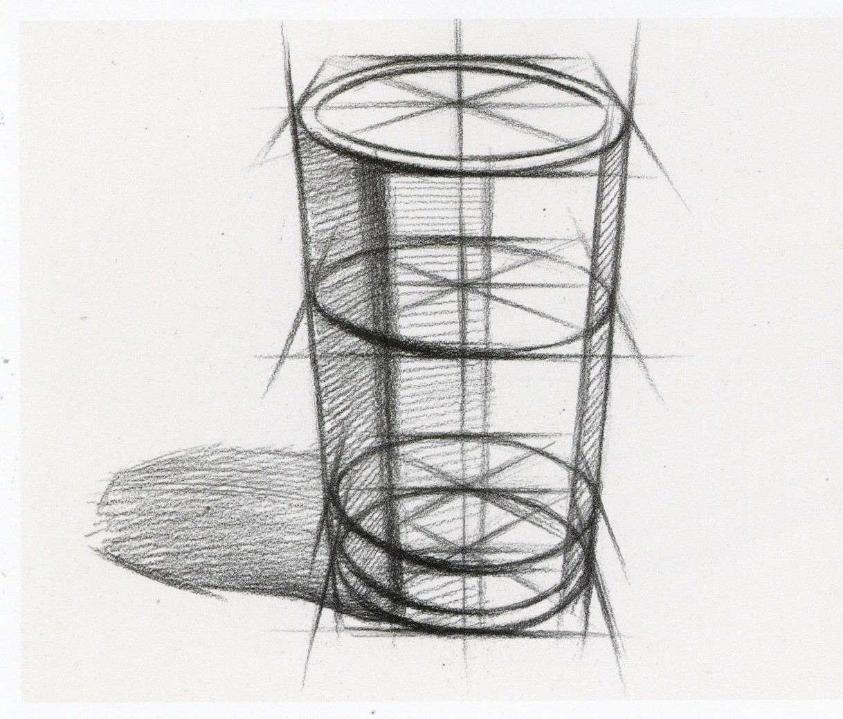 素描圆柱体玻璃杯教程 包括实体图步骤和玻璃杯结构