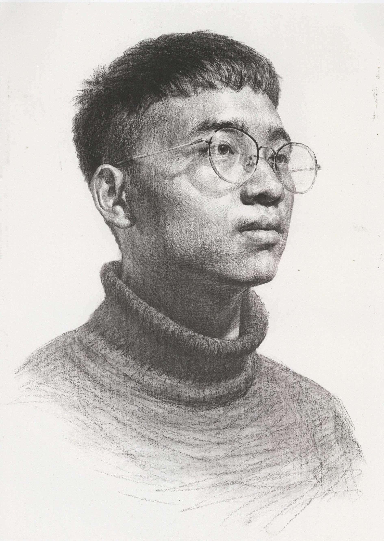 素描头像 素描圆领毛衣带着眼镜的青年男子