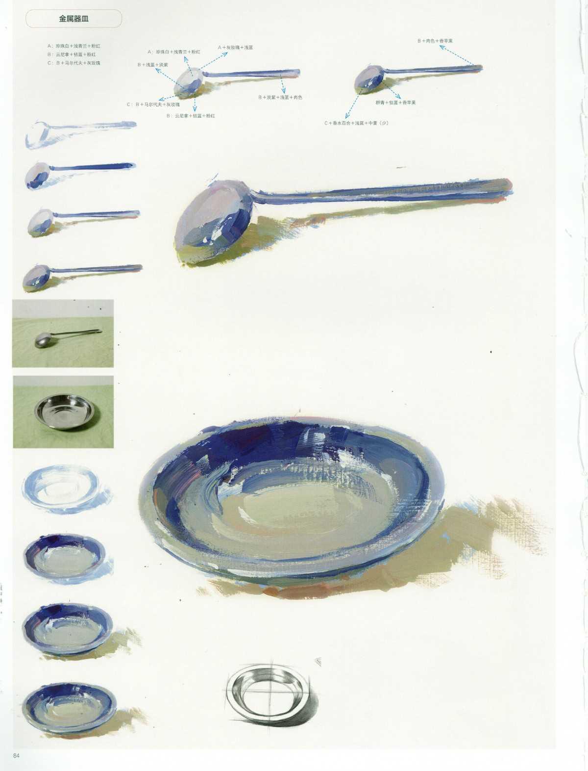 色彩金属勺子和金属盆绘画
